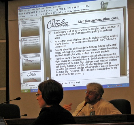 Application information is displayed for all to see at O'Fallon, Illinois, Planning Commission meeting.