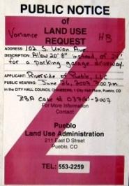 Pueblo, Colorado, zoning notice sign