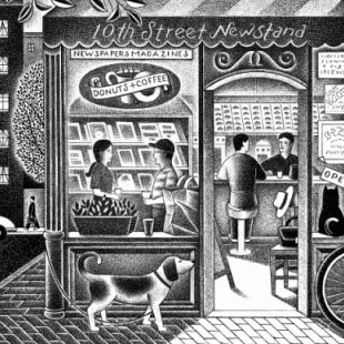 Corner market and cafe. Illustration by Paul Hoffman for PlannersWeb