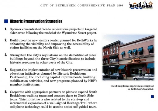 page from Bethlehem comprehensive plan section on historic preservation