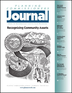 Cover of issue of Planning Commissioners Journal - Recognizing Community Assets. Illustration by Paul Hoffman.