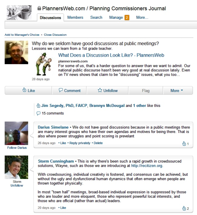 screenshot of PlannersWeb Linkedin group page