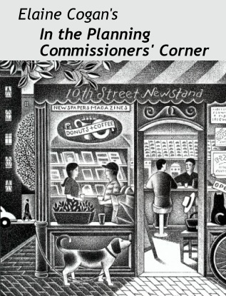 Elaine Cogan's In the Planning Commissioners' Corner; illustration by Paul Hoffman