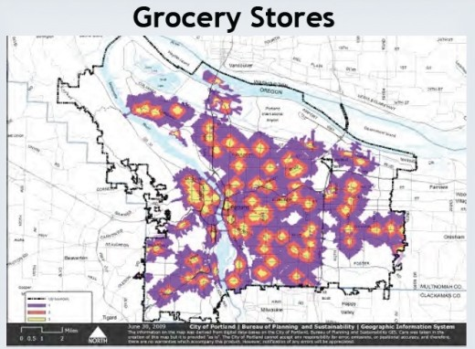 On this map, the light orange areas have the best accessibility to grocery stores; followed by the red color areas.