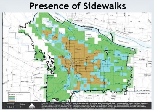 Here, areas with the most complete sidewalk network are shown in brown; with the light blue areas having the next best sidewalk infrastructure.