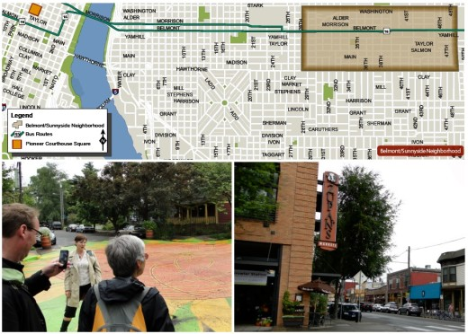 "Map is from First Stop Portland's ""Learning Portland"" guide; more on this later. The photo above left is of the painted circle in one of the dozens of ""intersection repair"" projects in Portland. I'll be discussing this program in a coming post. Above right, part of the neighborhood's commercial hub, anchored by a mixed-use project -- including Zupan's grocery store visible in the photo."