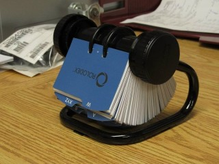 Hales didn't lug her Rolodex to our meeting; so for readers not familiar with an actual Rolodex, here's an example (from Wikipedia).