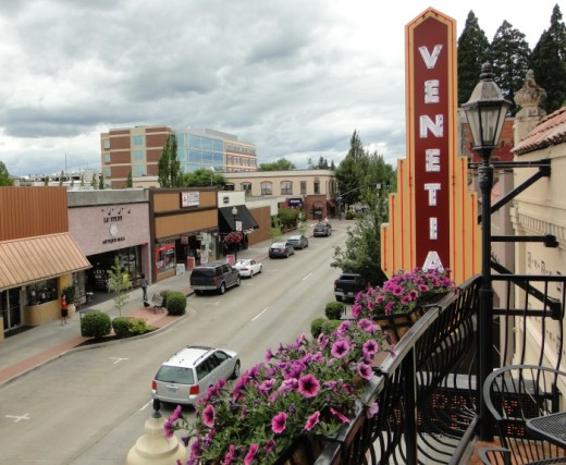 View of part of the Main Street commercial district from the balcony of the Venetian Theater. The large building two blocks down the street is the Hillsboro Civic Center.