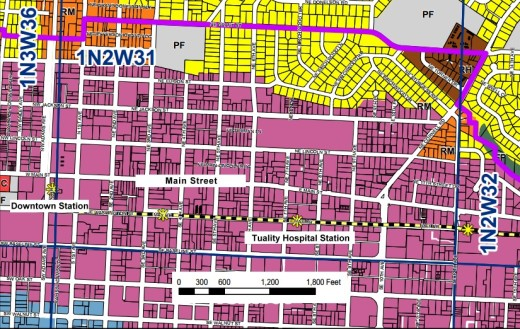 Segment of Hillsboro's comp plan map. Click on image to view it at larger size. The light purple identifies part of the downtown district. The * symbols show the location of the light rail stations.