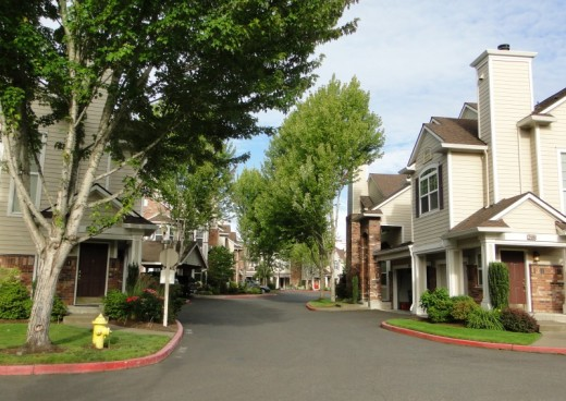 Above: Medium density housing on skinny streets; below: lower density housing closer to Orenco's Central Park.