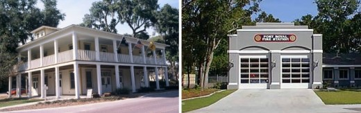 Two public buildings in the small city of Port Royal, South Carolina (population, 11,000) set the standard. Port Royal's city hall is above left; the fire station is above right (and, yes, even buildings like fire and police stations can and should be well-designed).