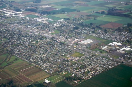 Aerial view of part of southern Portland metro area, by Cornelius. Photo by Sam Beebe; Flickr creative commons license.