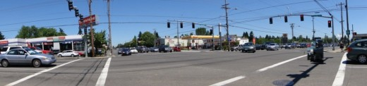 Intersection in a newer, more sprawling part of Portland