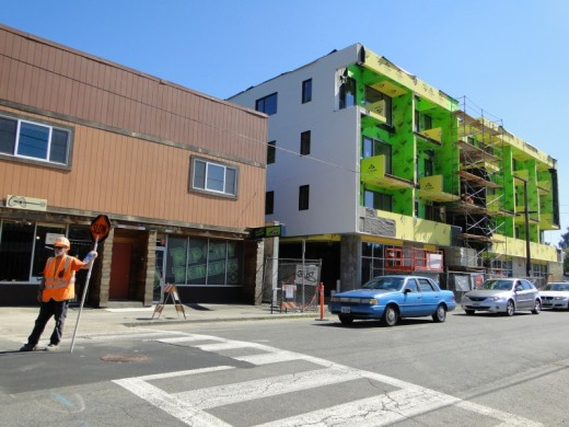 A mixed-use development under construction on SE Division Street in Portland, Oregon