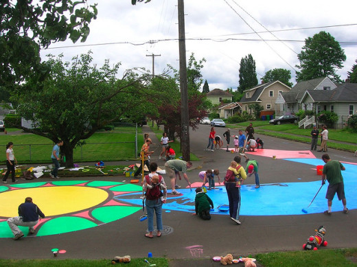 Painting an intersection in a Portland, Oregon neighborhood. Photo by City Repair; Flickr creative commons.