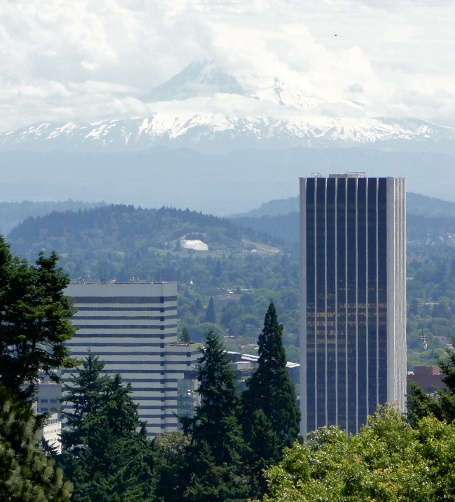 Downtown Portland, with Mt. Hood in the distance, seen from the Japanese Garden.