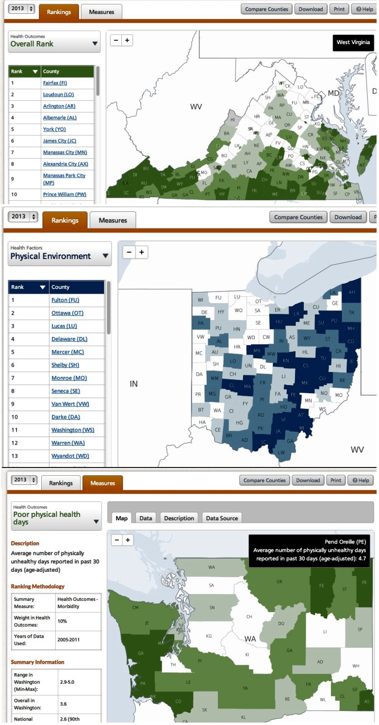 Screenshots from County Health Rankings web site