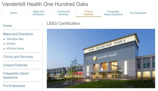 Screenshot of Vanderbilt Health's One Hundred Oaks web page