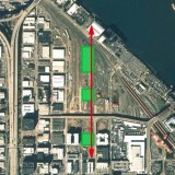 Aerial map from the Urban Design Framework study for the three parks (in green). From south (bottom) to north: Jamison Square; Tanner Springs Park; and The Fields. The 32-acre railyard is clearly visible in this photo. The Pearl District spreads to the west, up to where Interstate 405 bisects Portland.
