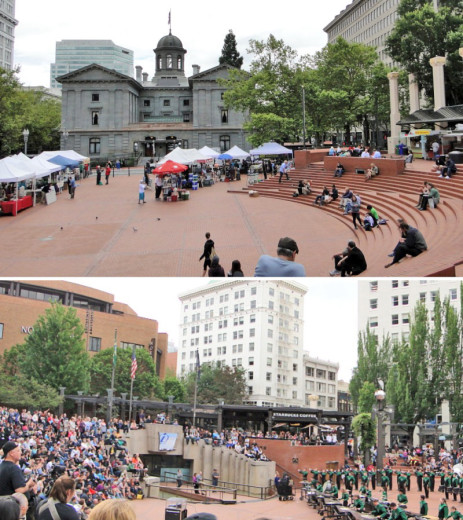 Pioneer Square in the heart of downtown Portland.