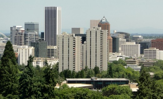 Downtown Portland from the aerial tram.