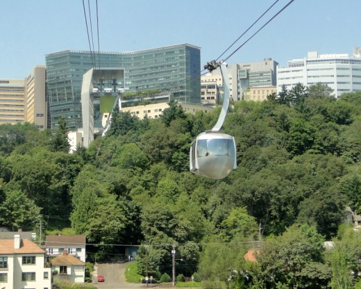 Tram heading up to OHSU campus on Marquam Hill.