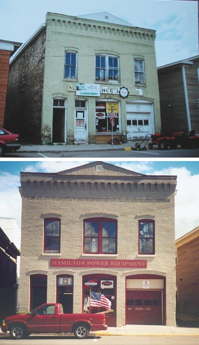 Improvements to this small building in Hamilton, New York, included a new sign, reduction of unsightly signage, a bold new paint scheme highlighting the building's historic character, and a new cornice for the roof gable. The dark paint was used to make non-historic building elements such as the garage door less obvious.