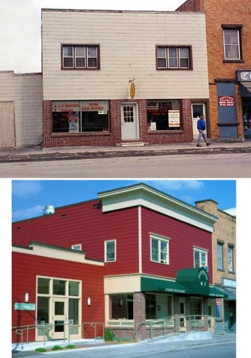 This underutilized pair of commercial buildings in Utica, New York, was updated with a whole new color and look, including a new cornice, siding, windows, doors, awning, detailing and other signage. New tenants included offices for a local initiative and a Chinese restaurant relocated from a nearby space.