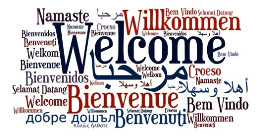 graphic showing the word Welcome in different languages