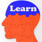 illustration of a head with the word learn spelled out