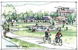 Sketch of possible Riverfront Park; courtesy of the Sonoran Institute.