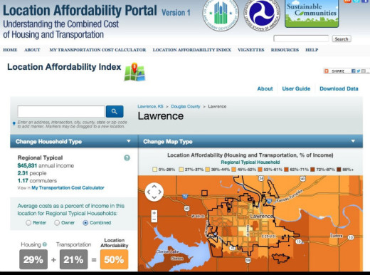 Screenshot of Location Affordability Portal -- displaying Lawrence, Kansas.