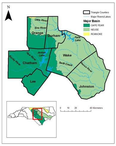 Major drainage basins in North Carolina's Triangle region