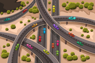cartoon drawing of a highway interchange