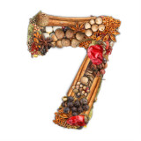 The number 7 made up of spices