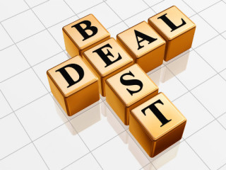 "The words ""Best Deal"" in a scrabble board arrangement."
