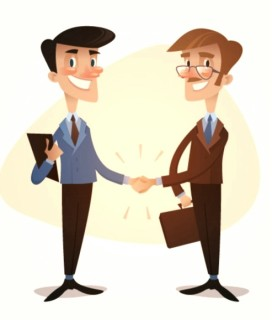 Cartoon of two smiling men shaking hands