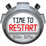 "Stop watch that says ""Time to Restart"""