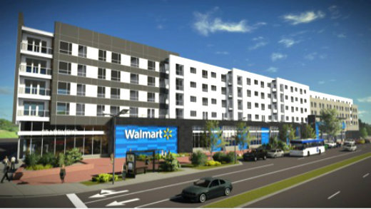 Design rendering of Walmart now under construction in Washington's Fort Totten neighborhood. Graphic courtesy of JBG Companies.