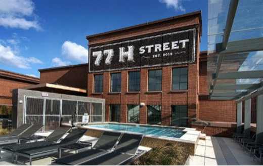 View of roof deck and pool on top of the H Street Walmart in Washington, DC. Photo courtesy of JBG Companies.