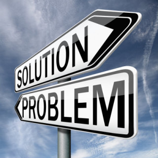 "Two arrows with the words ""solution"" and ""problem"""
