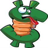 cartoon image of character in the form of a dollar sign being strangled