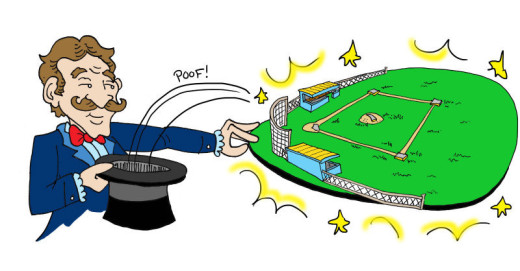 Magician pulling a ballpark out of his hat. Illustration by Marc Hughes for PlannersWeb.
