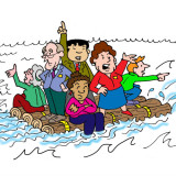 Illustration by Marc Hughes for PlannersWeb of people on a raft headed into an iceberg
