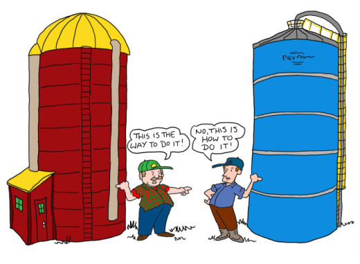 competing silos illustration by Marc Hughes for PlannersWeb
