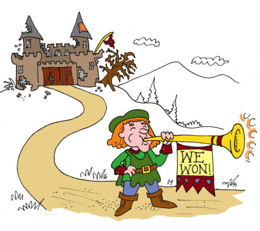 "Trumpeter saying ""We Won"" in front of wrecked castle. Illustration by Marc Hughes for PlannersWeb"