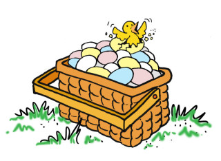 A variety of eggs in a basket. Illustration by Marc Hughes for PlannersWeb