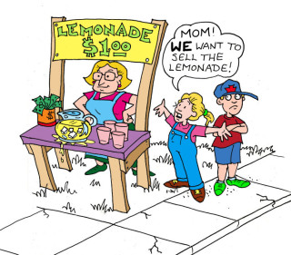 Illustration by Marc Hughes for PlannersWeb - Mom selling lemonade