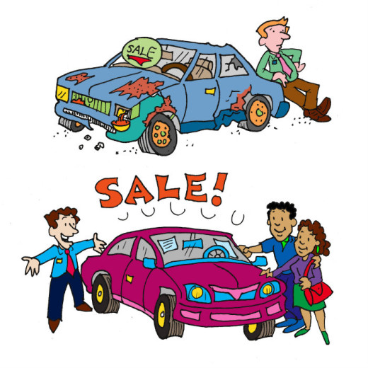 Illustration by Marc Hughes for PlannersWeb - two cars for sale at car dealership