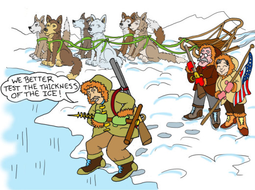 Illustration by Marc Hughes for PlannersWeb - explorers checking the Arctic ice